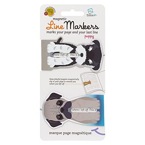Linemarker Page Marker, Book Holder, Magnetic Bookmarks Set of 2, Magnet Page Holder Clip for Reading (Dogs)
