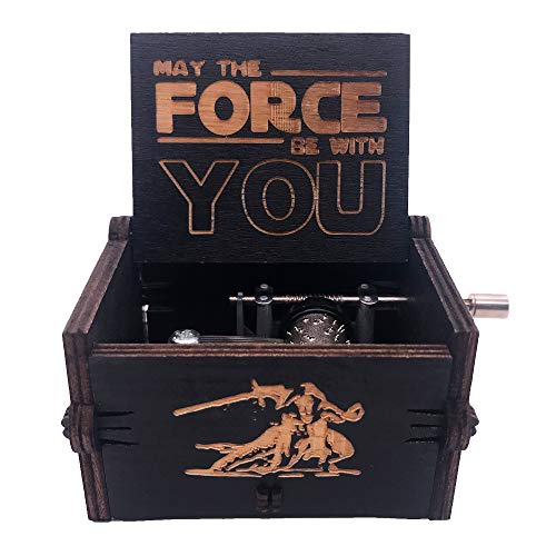 Star Wars Wood Music Box - 18 Note Hand Crank Musical Boxes Vintage Carved Musical Mini Gifts for Halloween Christmas Birthday Anniversary(Black)