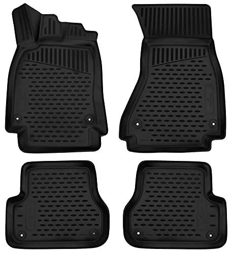 Tappetini in gomma per auto WALSER su misura compatibile con Audi A6 Limousine (4G2, 4GC, C7), senza sedile di guida a scompartimento 2010 - 2018