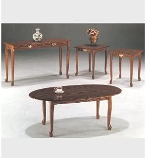 3-pc Queen Anne Cocktail Table in Oak Finish ADS4005a-oak