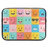 15 Inch Laptop Sleeve Briefcase Colorful Emoticon Emoji Face Neoprene Waterproof Handbag Protective Bag Cover Case for Surface Laptop/Notebook/Acer/Asus/Dell/Lenovo/iPad/Surface Book