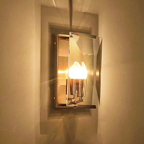 YANQING Duurzame Scandinavische Moderne Gouden Metalen Glas Wandlamp Woonkamer Slaapkamer Nachtkastje Corridor Balkon Veranda Veranda Veranda Kaars Wandlamp 17x27x10cm Verlichten Uw Leven