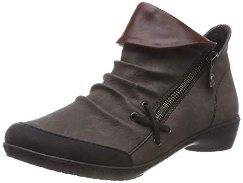 Rieker Damen Z0080 Kurzschaft Stiefel, Grau (Schwarz/Fumo/Vino 01), 38 EU