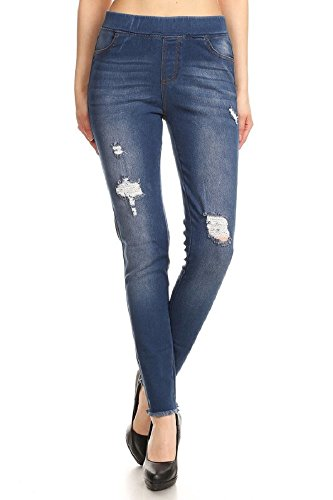Jvini Women's Pull-On Ripped Destroyed Stretch Skinny Denim Jeggings (XXX-Large, Navy-65)