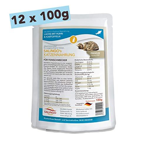 SALiNGO Katzenfutter nass | Lachs mit Huhn & Kartoffeln | getreidefrei | ohne Zucker | 12x100g