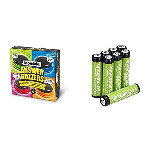 Learning Resources Buzzer mit Aufnahmefunktion (4 Stück), & Amazon Basics AAA-Batterien, wiederaufladbar, vorgeladen, 8 Stück (Aussehen kann variieren)