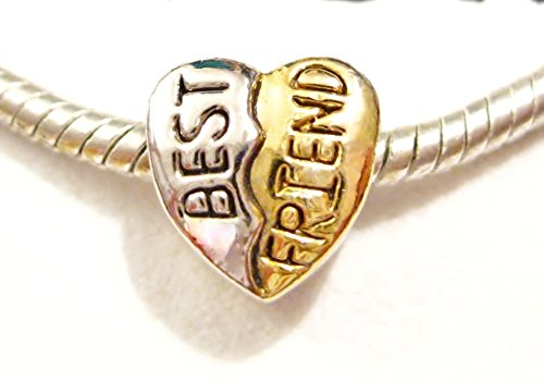 Best Friend Heart European Pugster Charm with Pandora Bead Polishing Cloth