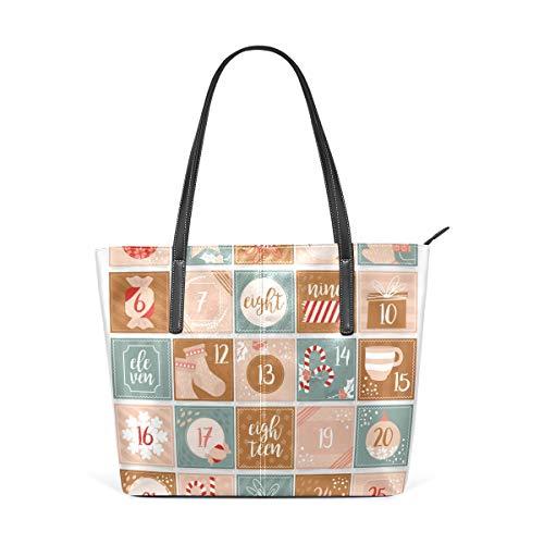 Quadratische Weihnachtskalender Schablone Fashion Leder Tote Schultertaschen Handtaschen für Frauen Mädchen