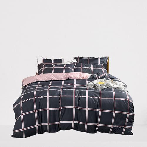Juego De 4 Piezas De Algodón Lavado Ropa De Cama Textiles para El Hogar Funda Nórdica A Rayas Cómodo Transpirable Y Fácil De Limpiar