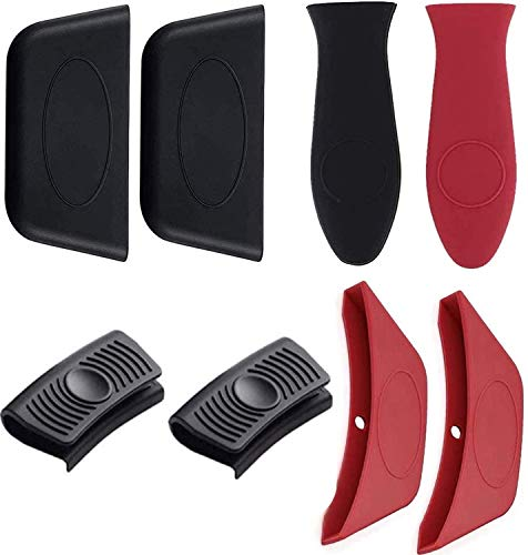 GiWuh Silicone Hot Handle Holders Removable Rubber Hot Resistant Pot Holder Sleeves Lid Covers for Cast Iron Skillets Frying Pans BBQ and Home Use, 8 Pieces Totally