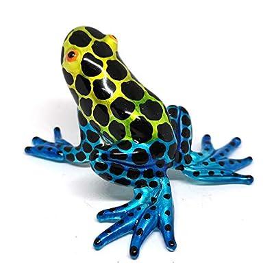 ZOOCRAFT Frog Decor Figurines Blown Glass Animals Poison Dart Hand Painted Art Miniature Garden Decoration Statues Collectibles