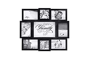 Malden International Designs The Love of a Family Dimensional Collage Black Picture Frame 8 Option 6-4x6 & 2-4x4 Black  8308-08