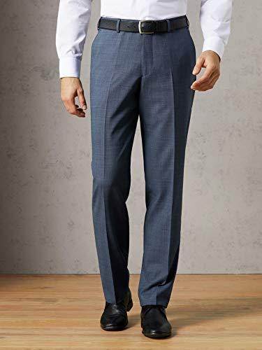 Walbusch Herren Traveller Anzug Sakko einfarbig Blau Melange 27