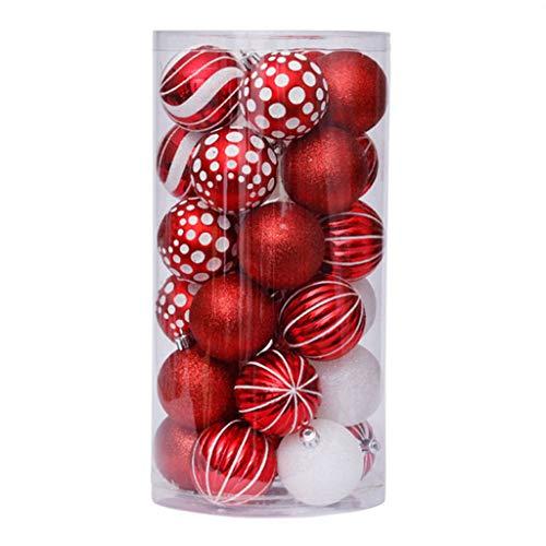 Utente 30 palline di Natale infrangibili da appendere per feste, albero di Natale, 6 cm