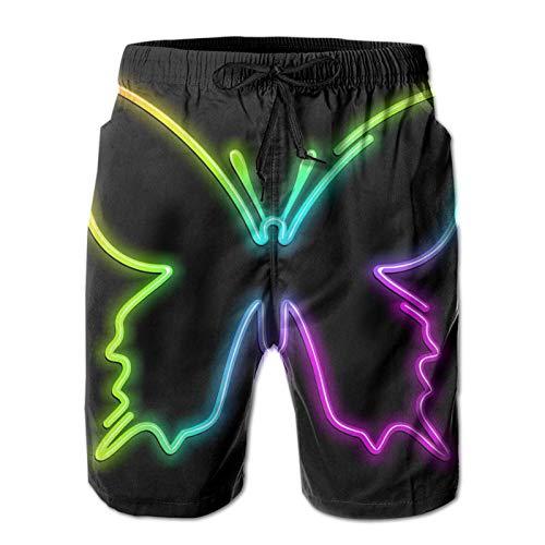 Nixboser Butterfly Psychedelic Neon Light - Bañador corto para hombre, secado rápido, transpirable, forro de malla