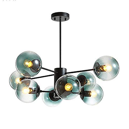 Vintage LED Lampada A Sospensione Nero Con Paralume In Vetro Globi Classico Lampada A Sospensione Illuminazione Lampadari Per Soggiorno Sala Colazione Agriturismo-Blu. 8 Luci