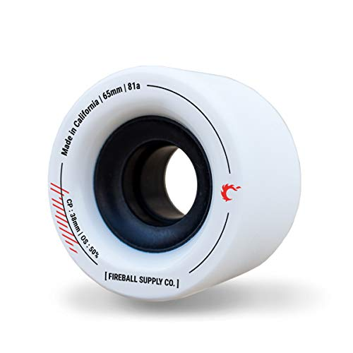 Fireball Tinder 65mm 81a Durometer Skateboard & Longboard Wheels (White 65mm Wheels x 4)