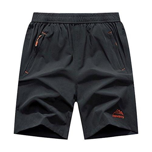 JINSHI Men's Outdoor Quick Dry Lightweight Sports Shorts Zipper Pockets (Grey,L)