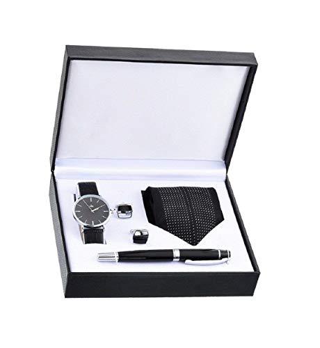 Souarts Herren Geschenkset mit Armbanduhr Männer Geldbörse Gürtel Sonnenbrillen Auto Schlüsselanhänger Geschenk Set für Herren (Schwarz #)