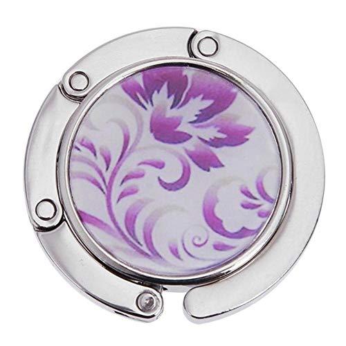1 pieza de soporte de gancho de suspensión de metal redondo único plegable portátil patrón de flores gancho de mesa de moda bolso de mano de aleación de cristal bolso-F, España