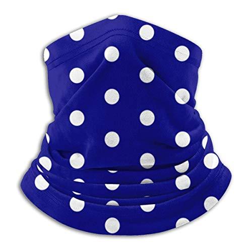 NCH UWDF White Blue Dots Polka Hexagon Navy.Png Bufanda Calentador de cuello Sombreros de microfibra suave Pañuelo facial Cubierta para clima frío Deportes de invierno al aire libre