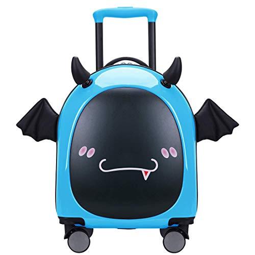 16 inch Kids Hardside Luggage, 3D cute Little Demon Design With Emoji sticker By Sindermroe (Blue)