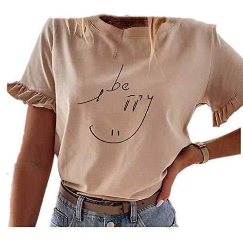 Casual volantes manga corta camisetas mujeres sólido suelta camiseta primavera verano todo partido señoras - - Small