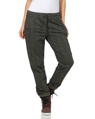 ZARMEXX Pantalones de Mujer Pantalones de chándal de algodón Plaid 85095 en el Interior de Novios Ocasionales cepillados Suaves