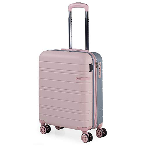 JASLEN - Maleta Pequeña con Ruedas Rígida Extensible. Conexión USB 4 Ruedas Trolley. ABS Liso. Equipaje de Mano. Dura Cómoda y Ligera. TSA. 171250, Color Rosa-Plata
