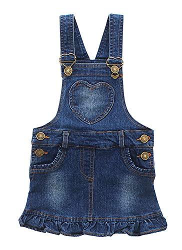 CYSTYLE Kinder Mädchen Latzkleid Jeanskleider Mini Kleid Schlupfkleid Trägerkleid mit Rüschen (120/Körpergröße 110 cm)