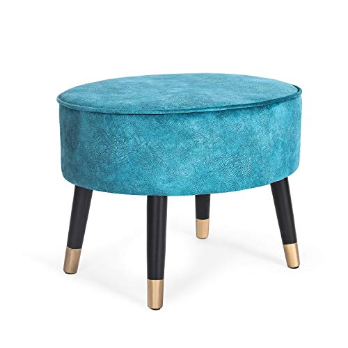 Homebeez Ottoman Foot Stool Rest Oval Vanity Stool Bench with Wood Legs, 22.4' (Blue)