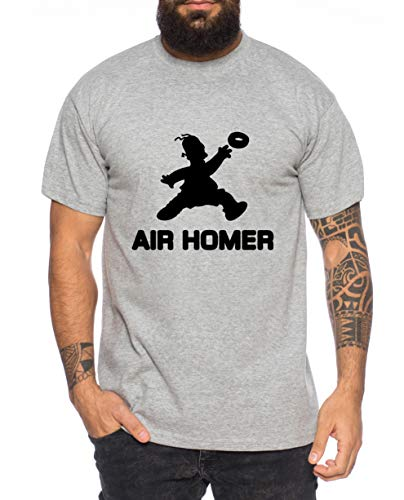Tee Kiki Air Homer Camiseta de Hombre Cool Fun-Shirt, Farbe2:Gris Brezo, Größe2:Medium