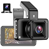 LPWCAWL Dual Lens Dashcam, 1296P HD Autokamera, WiFi Dashboard Kamera mit 3-Zoll Bildschirm und Rückfahrkamera, Nachtsicht, 170° Weitwinkel, ADAS, G-Sensor, Parkmonitor, 64 GB SD-Karte
