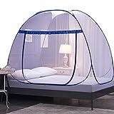 かや 蚊帳 ワンタッチ シングル ベッド 底付き 床 ベッド 折りたたみ 虫よけカーテン 虫除け かや 収納 子供 (ダークブルー, 行195×幅100×高さ145cm)