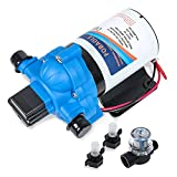WaterDiaphragm Pump With PressureSwitch 12V DC quiet 3.0 amps 3.0 GPM 45 PSI Water Pump Compatible with The Camper, RV, Sprayer, Garden Sprinklers, Insect Sprays Or Barge