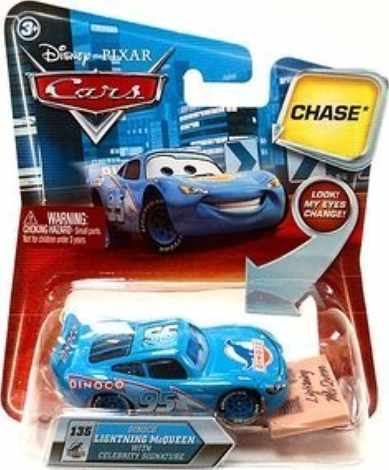 Mattel Dinoco Lightning Mcqueen With Celebrity Signature  135 W  Lenticular Eyes Disney   Pixar Cars 1 55 Scale Die-Cast Vehicle by Mattel