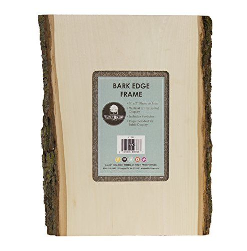 Walnut Hollow 41391 Bark Edge Photo Frame for 5 x 7 Pictures (No Glass), Natural