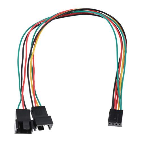 H HILABEE Cable Adaptador de Conector de Ventilador de Refrigeración de PC Divisor Y de 4 Pines Hembra a 2 Macho