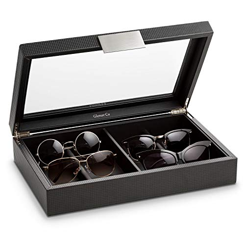Glenor Co Sunglasses Organizer Case - 8 Slot Storage Holder to Display Sunglass/Eye Glasses - Modern Box with Clear Glass Top and Metal Buckle for Men and Women - Carbon Fiber Leather Design - Black