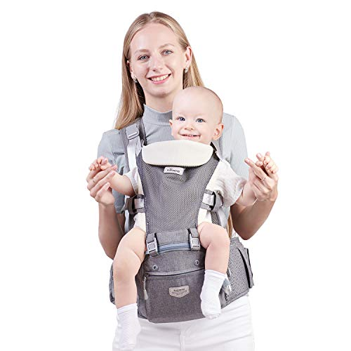 SUNVENO Baby Carrier, 6-in-1 Ergonomic Hipseat Carrier with Breathable Air Mesh, Front and Back Hip Seat Carriers for 7-45 lbs Babies, Padded Shoulder Strap for All Season, Grey