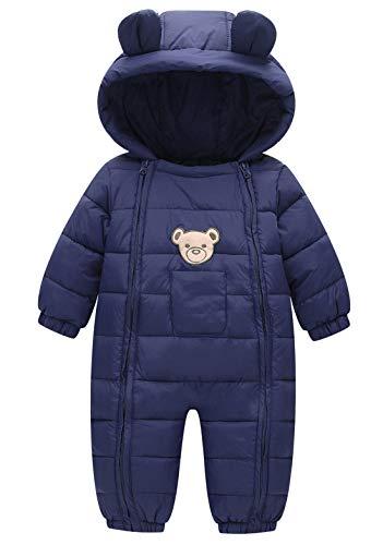 Maeau Tuta da neve per bambini con cappuccio e tuta invernale per bambini da 3 mesi a 3 anni A-blu navy 9-18 mesi