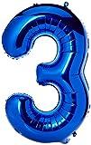Unique Party- Globo gigante número 3, Color azul, 86...