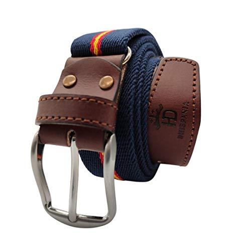 RAU Cinturon de hombre bandera de españa elastico y terminaciones en piel.(ES AJUSTABLE VALE DESDE LA TALLA 90 A LA 120) (AZUL)