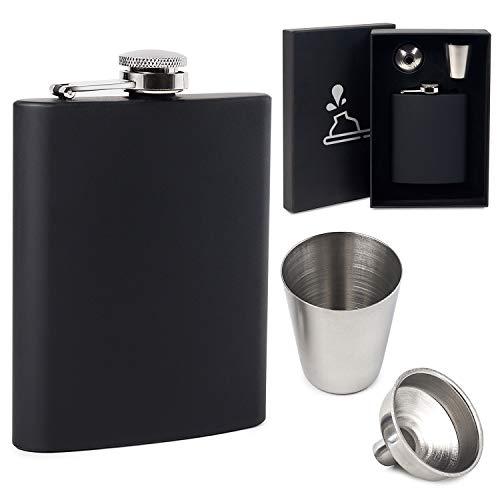 FunkyDrops 7oz Leakproof Whiskey Flask Set for Liquor for Men and Women – Matte Black Pocket Hip Flask Made of Stainless Steel with Funnel and Shot Glass – Gift Box Included