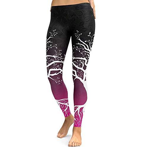 SUNXIN Mujer Pantalones Largos Deportivos Patrón de árbol Leggings para Running, Yoga y Ejercicio