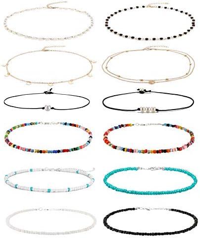 Wremily 4 12 Pieces Beaded Choker Necklaces for Women Girls Boho Seed Bead Choker Set Hawaiian product image