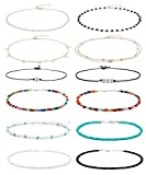 Wremily 4-12 Pieces Beaded Choker Necklaces for Women Girls Boho Seed...
