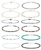 Wremily 4-12 Pieces Beaded Choker Necklaces for Women Girls Boho Seed Bead Choker Set Hawaiian Handmade Turquoise Beach Beads Necklace Chain Jewelry
