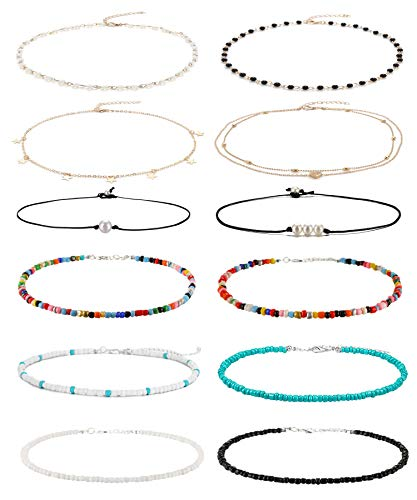 Wremily 4-12 Pieces Beaded Choker Necklaces for Women Girls Boho Seed Bead Choker Set Hawaiian Handmade Turquoise Beach Beads Necklace Chain Jewelry