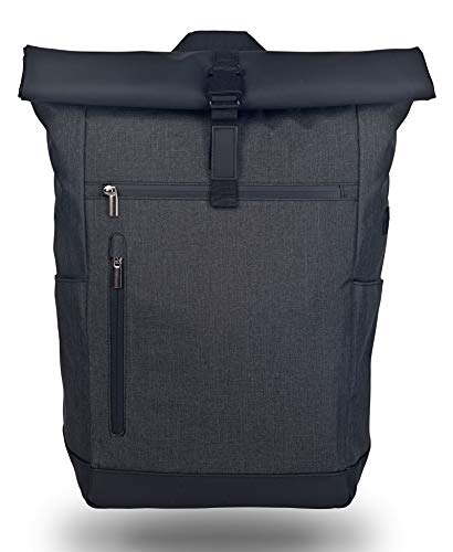 Wenter.S - Rolltop backpack large messenger backpack 25L backpack plain (anthracite) with back opening.